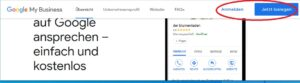 Bei Google My Business direkt die Seite ansteuern und dann rechts oben anmelden.