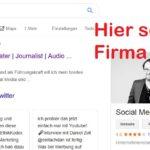 Bei der Google Suche sollte rechts im Bild dein Unternehmen erscheinen, wenn du nach dem Firmennamen suchst.