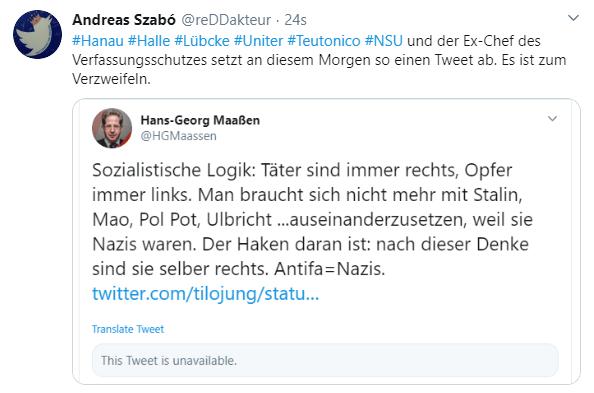 Nach dem rechtsterroristischen Anschlag in Hanau twittert Hans Georg Maaßen