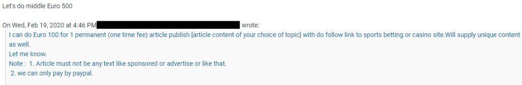 Unseriöse Linkbuilding-Anfrage per E-Mail. Hier wird sogar gefordert, auf eine Werbekennzeichnung zu verzichten.