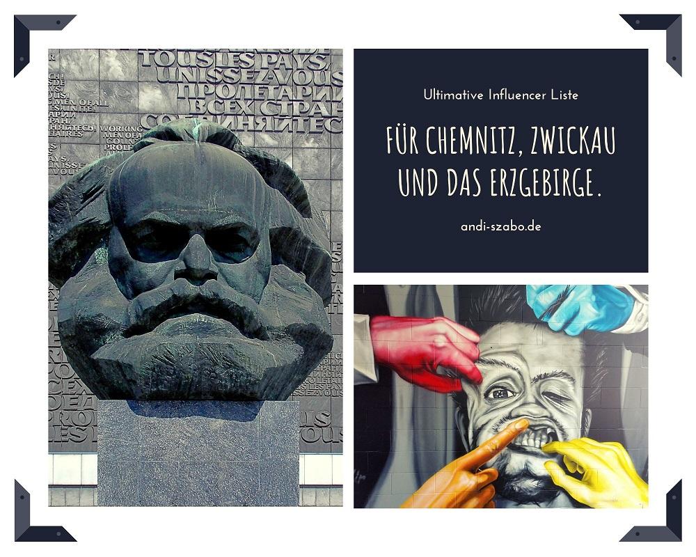 Die ultimative Influencer Liste für Chemnitz Zwickau und das Erzgebirge. Auf dem Symbolbild sind Bilder aus Chemnitz und Zwickau.