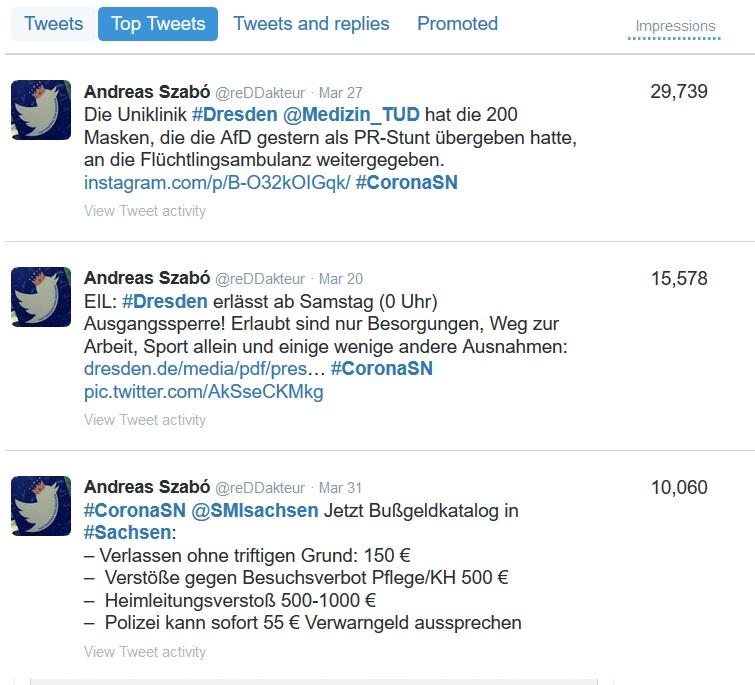 Die Top 3 Tweets aus den Corona Dresden Threads von Andreas Szabó.