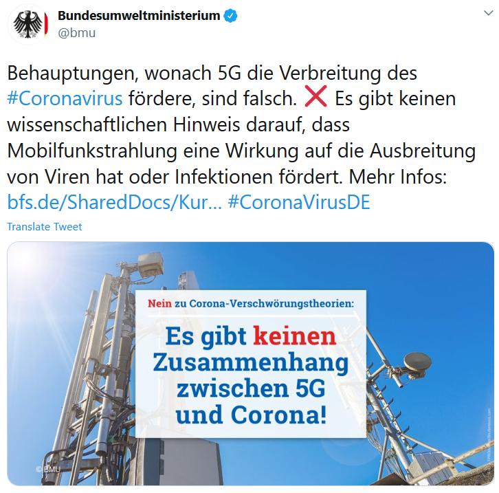Tweer des Bundesumweltministeriums, in dem klargestellt wird, dass 5G und Corona in keinem Zusammenhang stehen.