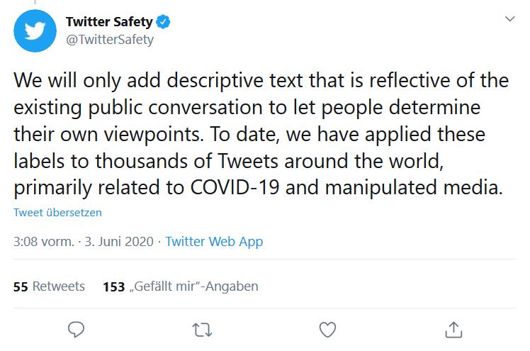 Tweet von TwitterSafety, der die neue Twitterfunktion erläutert, um Falschmeldungen zu kennzeichnen.