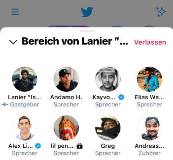 Screenshot von Twitter Spaces