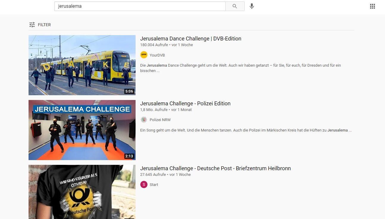 Screenshot von Youtube-Videos zur Jerusalema Challenge. Im Text gibt es Tipps zum Urhberrecht und der GEMA.