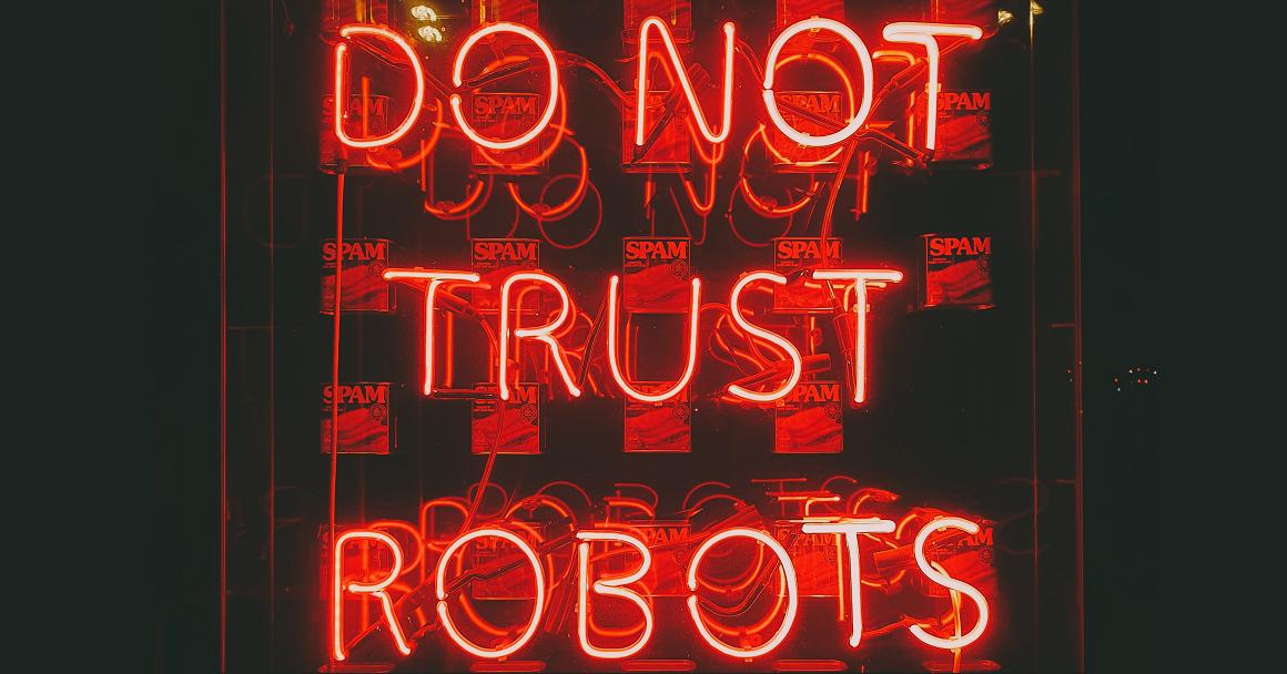 Spam bei Instagram: Do not trust robots steht auf diesem Bild in Neonschrift. Es geht in dem Beitrag darum, Insta-Spam loszuwerden.